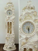 Antique White Rose Wall Clock Large