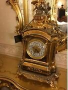 Italian Import Antique Tone Gorgeous Gold Color Small Bird Clock Place Watch