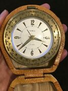 1940and039s Semca Travel Alarm Clock With World Time Bezel Working Beautiful