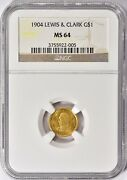 1904 Lewis And Clark Gold 1 Dollar Commemorative Coin Ngc Ms 64