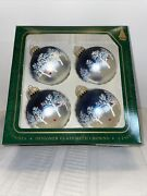 Christmas By Krebs 4 Glass Ball Ornaments Blue/silver/trees And Cardinal
