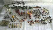 Large Set Of Brittains Lead Farm Animals Figures Equipment Buildings And Trees