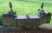 Vintage Middle Eastern Brass And Wood Shoe Shine Stand And Glass Bottles 32.5andrdquo Long