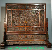 26old China Rosewood Carving Dynasty Palace Dragon Bead Folding Screen