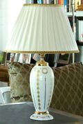 Table Lamp In Majolica Italian Decorated With Leaf D'oro Cert 24 K By