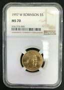 1997 W Jackie Robinson 5 Gold Commemorative Ngc Ms70