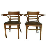 Vintage Mid Century Solid Oak Bentwood Arm Chairs A Pair Thonet