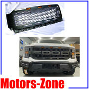 Raptor Style For 21-up Ford F150 Painted Grey Replacement Grille W/3 Led Lights