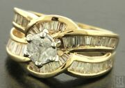 Superb Heavy 14ct Yellow Gold Baguette And Brilliant Cut Large Diamond Ring