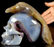Lifesized 7.0 Agate Geode Carved Crystal Skull Super Realistic Healing035