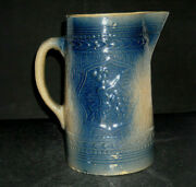 Novel Blue And Cream Yellow Ware Grape Cluster And Shield Stoneware Pitcher Ohio