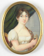 Fanny Romanini-attrib. Portrait Of A Lady With A Miniature Of Her Husband