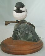 Chickadee Wood Carving Branch Perch Rock Base By Susan Talbot Camden Maine 1998