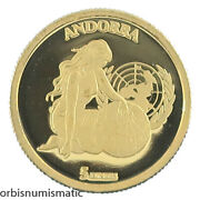 2004 Andorra 5 Diners Un United Nations Rare 1/25 Oz 999 Gold Proof Z464