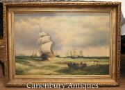 Victorian Oil Painting Seascape Maritime Galleon Ship Signed A Hess