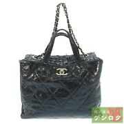 Secondhand Vintage Processing Chain Tote Bag 13th Unit Leather/cotton