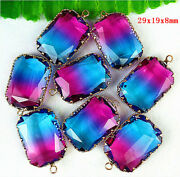 100pcs Faceted Wrapped Blue Rose Titanium Crystal Rectangle Pendant Bead Dd3011
