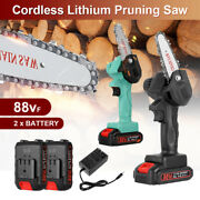 Cordless Electric Chain Saw Wood Cutter Mini One-hand Saw Woodworking W/ Battery