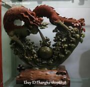 China Natural Shoushan Stone Carving Fengshui Dragon Loong Play Beads Statue