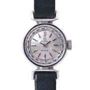 Omega De Ville Antique Cut Glass 511.254 Ladies Ss Leather Manual Winding Watch