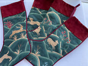 Upscale Tapestry And Suede Large Christmas Stockings Deer Lamb Bird Dog 18