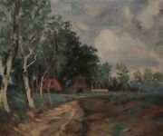 Painting Signed Farmhouse Forest
