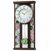 Rhythm Clock Japan Made Radio The Reiko Rhg-m007 Stained Glass Wooden Frame