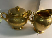Wheeling Gold China Cream And Suger Excellent Condition