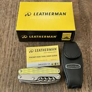 New In Box Leatherman Juice Xe6 Moss Green Multi Tool With Leather Sheath