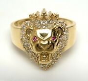 Real 10k Yellow Gold Lion Ring Lion Head Ring Lion Face Ring