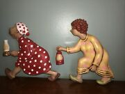 Arnel Chalkware Race Rush To The Outhouse Man And Woman 2 Vintage Wall Plaques