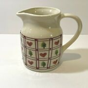 Vintage Hartstone Pottery Hearts And Trees Pitcher 32 Ounce Quart 6 Ohio
