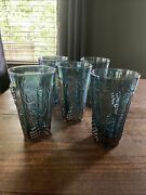 Lot Of 5 Indiana Glass Blue Carnival Harvest Grape Iridescent Tumblers