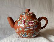 Antique Chinese Qing 19th C Pottery Clay Terracotta Enameled Teapot Yixing