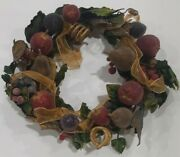 Rare Princess House Frosted Winter Garden Holiday Wreath 12 No Box With Tag