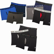 3 Pack Men's Spyder Performance Boxer Briefs Underwear With Functional Fly