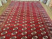 Vintage Red Bokhara Area Rug Semi Antique Turkoman Carpet Handmade 8and039 X 12and039 5