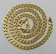 Vintage Italian Heavy Solid 18k Yellow Gold Diamond Cut Curb Chain Necklace 20