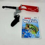 Rapala We Fish Nintendo Wii W/ Activision Fishing Rod Complete Very Good