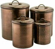Farmhouse Kitchen Decor Canister Set 4 Rustic Farm Country Hammered Storage New