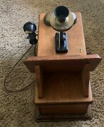 Antique Western Electric Oak Wooden Hand Crank Wall Telephone With Insides