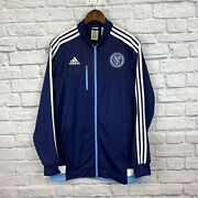 New York City Fc Offical Track Jacket Adidas Nycfc Size Large Navy Mls Football