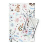 Easter Spring Bunnies Eggs Linen Cotton Tea Towels By Roostery Set Of 2