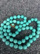 Stunning Vintage Antique Chinese Turquoise Peking Glass Silver Clasp Necklace