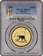 Australie 1 Oz Gold 100 Lunar - Year Of The Monkey 2004 - Expertisandeacutee Pcgs Ms69