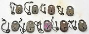 Lot Of 9 Antique Iron Levers System Pad Locks Original Old Working With Key