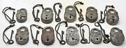 Lot Of 10 Antique Iron Levers System Pad Locks Original Old Working With Key