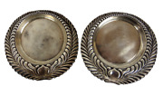 And Co Sterling Silver Wine Coasters Set 2 Holloware Mono Wave Edge 1884