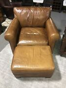 Crate And Barrel Leather Chair And Ottoman