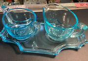 Vintage Art Deco Vaseline Glass Set Of 3 Cream, Suger, And Tray Blue To Green